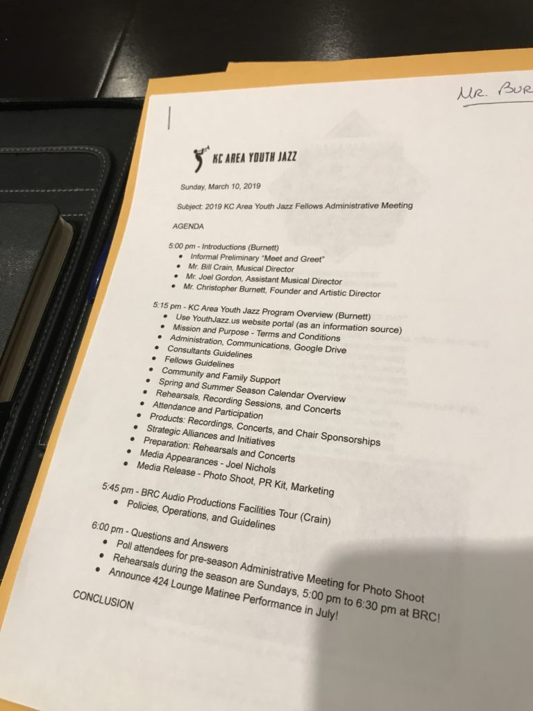 Youth Jazz Meeting Agenda